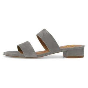 Grey Straps Block Heel Women's Slide Sandals