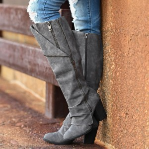 Grey Suede Chunky Heel Boots Knee High Boots