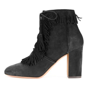 Grey Suede Chunky Heel Lace Up Tassel Fringe Boots