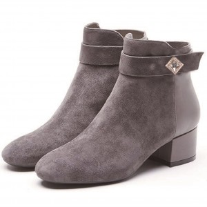 Grey Suede Crystal Block Heels Round Toe Ankle Boots