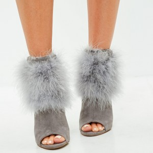 Grey Suede Feather Peep Toe Boots Stiletto Heel Ankle Boots