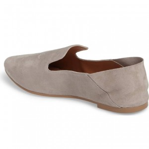 Grey Suede Flats Loafers for Women