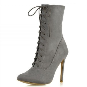 Grey Suede Lace Up Boots Stiletto Heel Ankle Boots