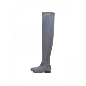Grey Suede Long Boots Flat Over-the-knee Boots