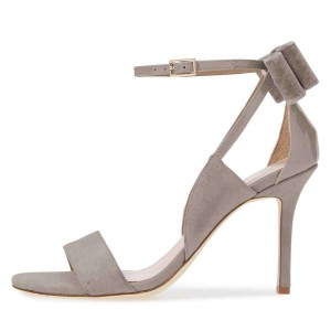 Grey Suede Patent Leather Velvet Bow Ankle Strap Heels Sandals