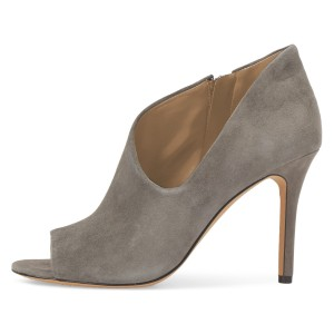 Grey Suede Peep Toe Booties Stiletto Heel Ankle Boots