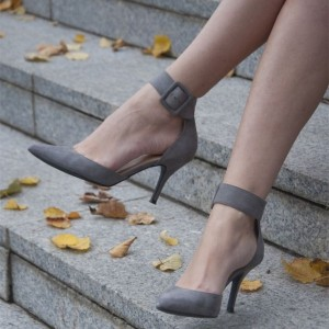 Grey Suede Pointy Toe Ankle Strap Heels  Buckle Pumps