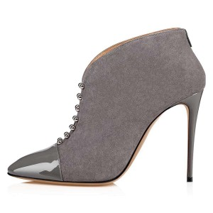 Grey Suede Pointy Toe Studs Stiletto Heel Ankle Booties