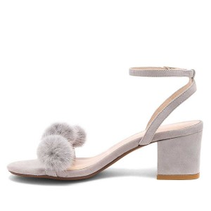 Grey Suede Pom Pom Shoes Block Heel Ankle Strap Sandals