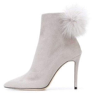 Grey Suede Pom Pom Shoes Stiletto Heel Ankle Boots