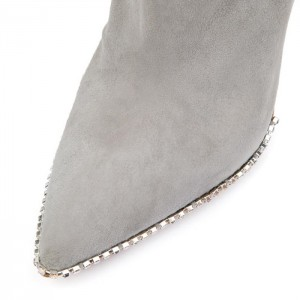 Grey Suede Simple Stiletto Heel Ankle Booties