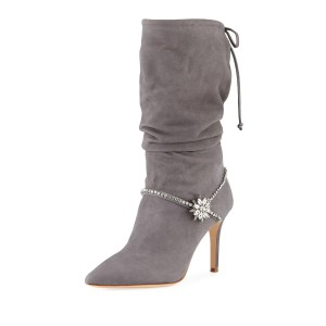 Grey Suede Slouch Boots Stiletto Heel Mid Calf Boots with Rhinestones