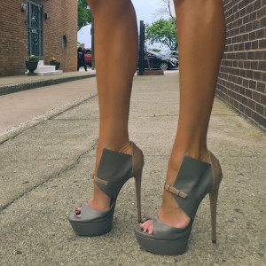 Grey and Tan Sexy Heel Peep Toe Platform High Heel Shoes