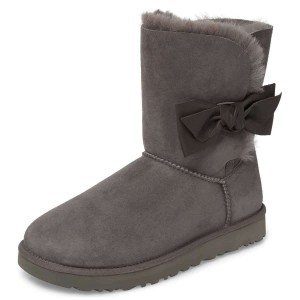 Grey Winter Boots Flat Suede Comfy Mid Calf Snow Boots US Size 3-15