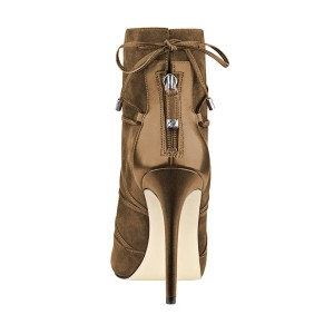 Brown Suede 4 Inches Stilettos Peep Toe Heels Strappy Ankle Booties