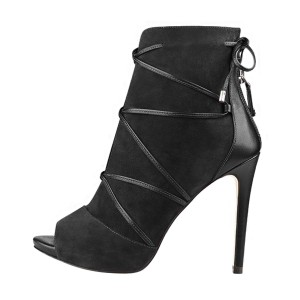 Black Lace up Boots Peep Toe Stiletto Heel Suede Booties by FSJ