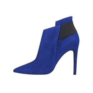 FSJ Royal Blue Suede Stiletto Boots Pointy Toe Fashion Ankle Booties