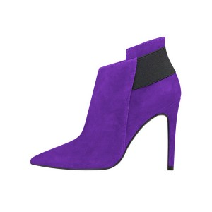 FSJ Purple Suede Stiletto Boots Pointy Toe Fashion Ankle Booties