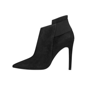 FSJ Black Women's Dress Boots Pointy Toe Suede Stiletto Heel Booties