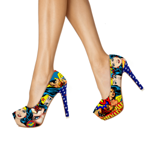 Halloween Wonder Woman Floral Heels Platform Heel Pumps