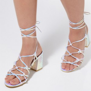 Holographic Shoes Strappy Block Heel Sandals