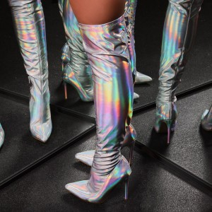 Holographic Stiletto Boots Fashion Pointed Toe Over the Knee Boots