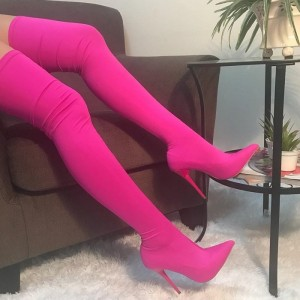Hot Pink Lycra Tight Thigh High Heel Boots for Women