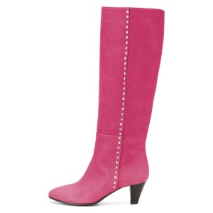 Hot Pink Chunky Heel Long Boots Knee High Boots