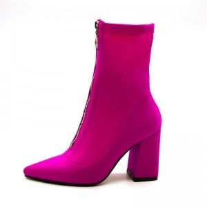 Hot Pink Front Zip Ankle Booties Block Heel Boots