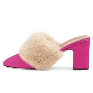 Hot Pink Fur Heels Round Toe Chunky Heel Trending Mules US Size 3-15