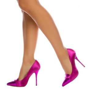 Orchid Glitter Shoes Pointy Toe Stiletto Heels Pumps