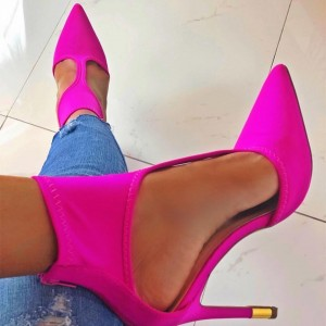 Hot Pink Lycra Cut Out Stiletto Heels Pumps
