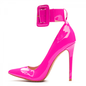 Fuchsia Patent Leather Buckle Ankle Strap Heels Pumps