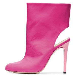 Orchid Patent Leather Cut Out Stiletto Heel Ankle Booties