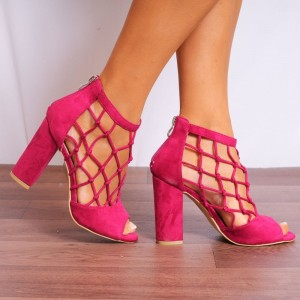 Hot Pink Suede Chunky Heel Sandals Fishnet Peep Toe High Heel Shoes