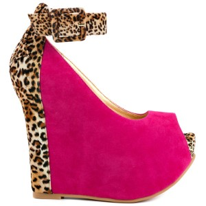 Hot Pink Leopard Print Wedge Heels Suede Ankle Strap Pumps
