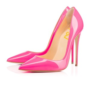 Women's Hot Pink Dress Shoes Elegant Pointed Toe Leather Pumps