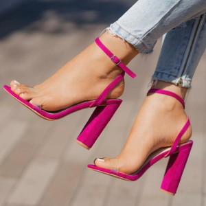 Hot Pink PVC Chunky Heel Sandals Clear Shoes Ankle Strap Sandals