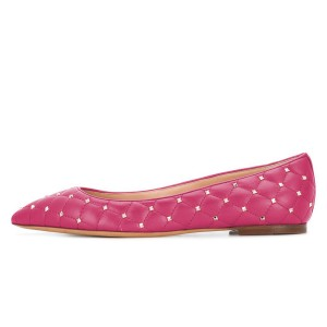 Hot Pink Quilted Studs Shoes Pointy Toe Comfortable Flats