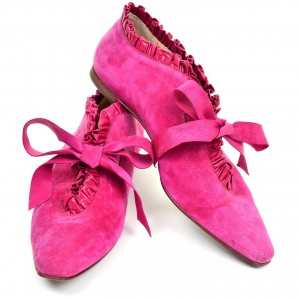 Hot Pink Suede Ruffle Square Toe Flat Casual Shoes for Women