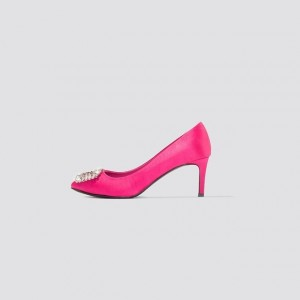 Hot Pink Satin Crystal Embellished Stiletto Heels Pumps