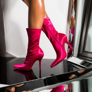Hot Pink Satin Fashion Boots Tight Stiletto Heel Ankle Boots