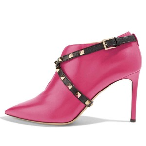 Orchid Studs Shoes Cross Over Stiletto Heel Ankle Boots