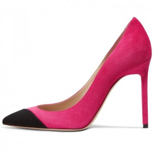 Fuchsia Suede Pointy Toe Stiletto Heels Pumps Office Shoes