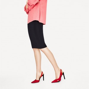 Red Stiletto Heels Pointy Toe Slingback Pumps Office Shoes