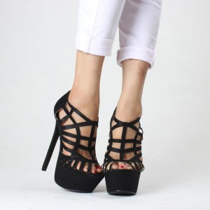 Black Peep Toe Caged Stiletto Heels Platform Sandals