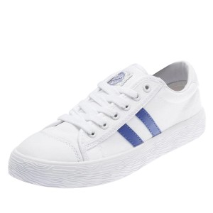 Hui Li White and Blue Canvas Lace Up Sneakers