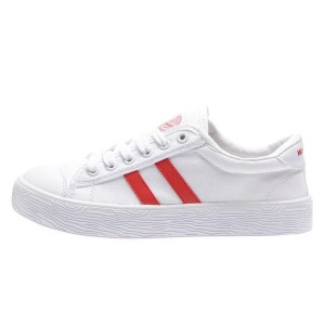 Hui Li White and Red Canvas Lace Up Sneakers