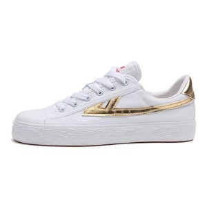 Hui Li White Gold Stripes Lace Up Sneakers