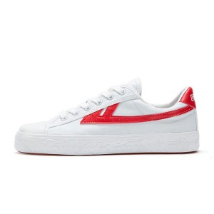 Hui Li White Red Stripes Lace Up Sneakers